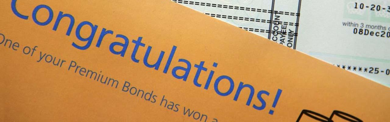 Congratulatory letter for winning premium bond prize.